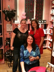 Holly launch with Kay Jaybee and Lucy Felthouse celebrating at Sh!