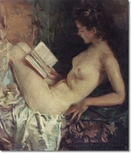 america-artist-art-paintings-prints-note-cards-by-howard-chandler-christy-nude-women-reading-approximate-original-size-18x16