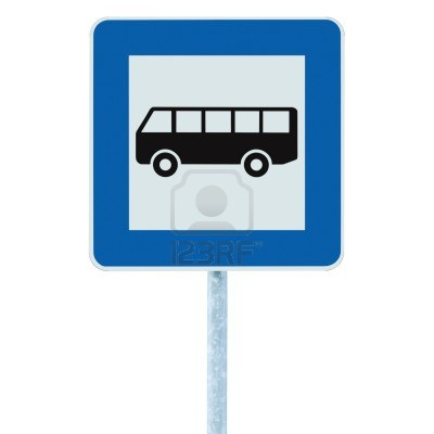 10051390-bus-stop-sign-on-post-pole-traffic-road-roadsign-blue-isolated-signage