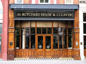 butchers hook and cleaver